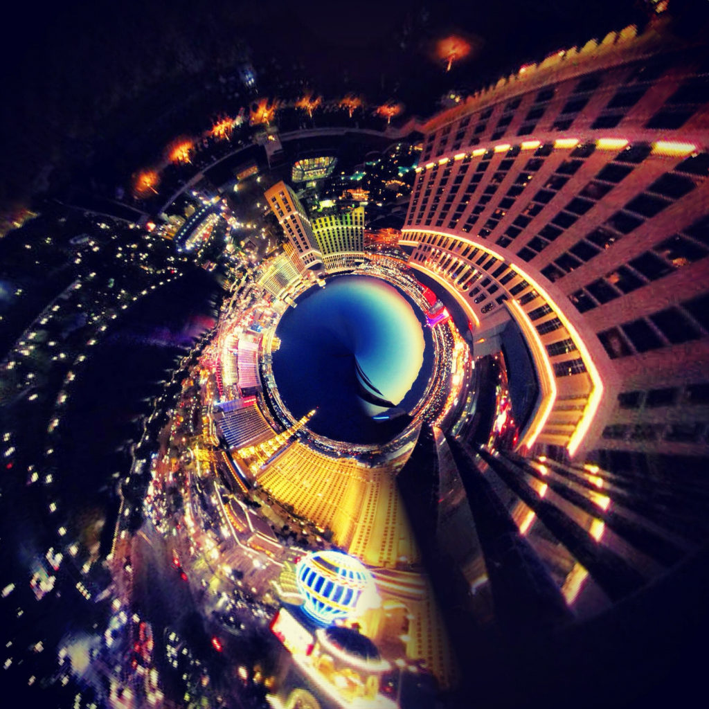 Vegas tiny planet view from Cosmopolitan