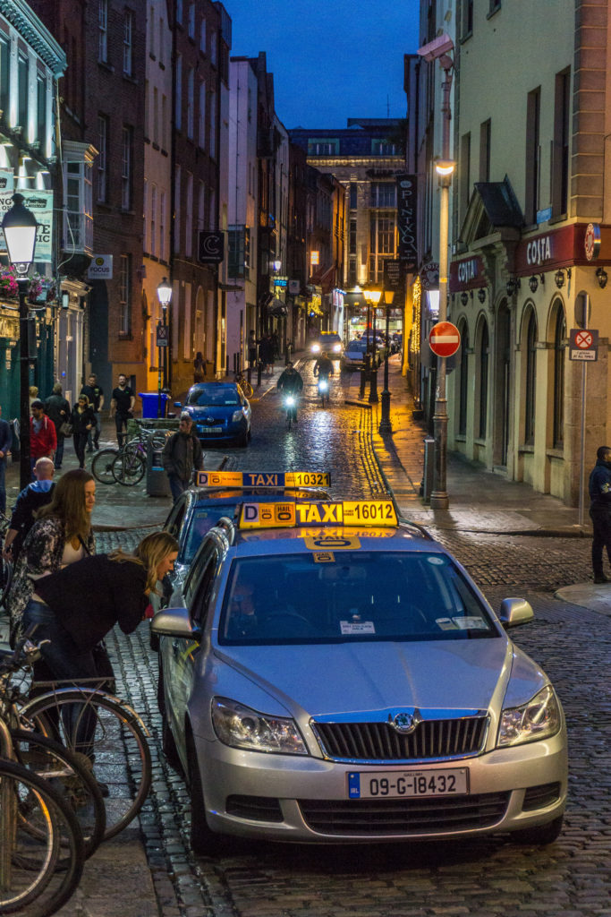 Catching a cab in Dublin Ireland