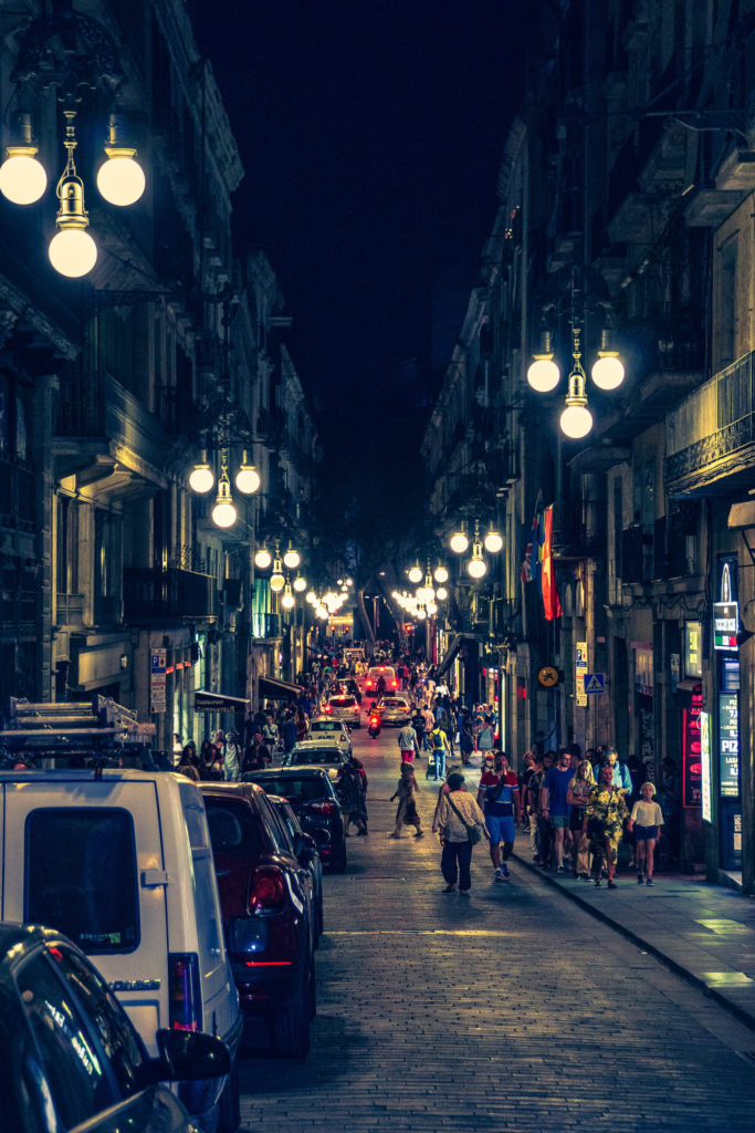 Barcelona streets at night